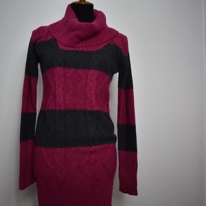 Pink Rose Cable Knit Dress size Large Pink Gray